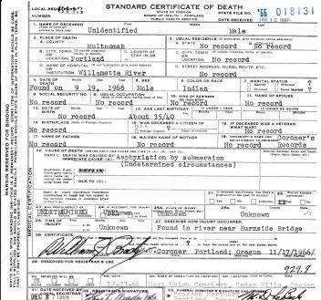 death certificate unidentified native american oregon