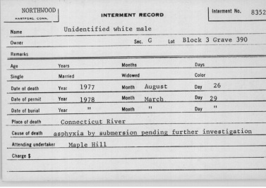 unidentified white male 1977 hartford