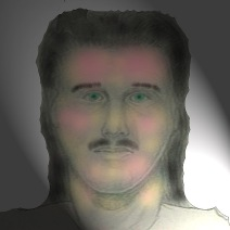 Colorized sketch of unidentified killer of German National Diethelm Baumann in Manchester, New Hampshire 1993